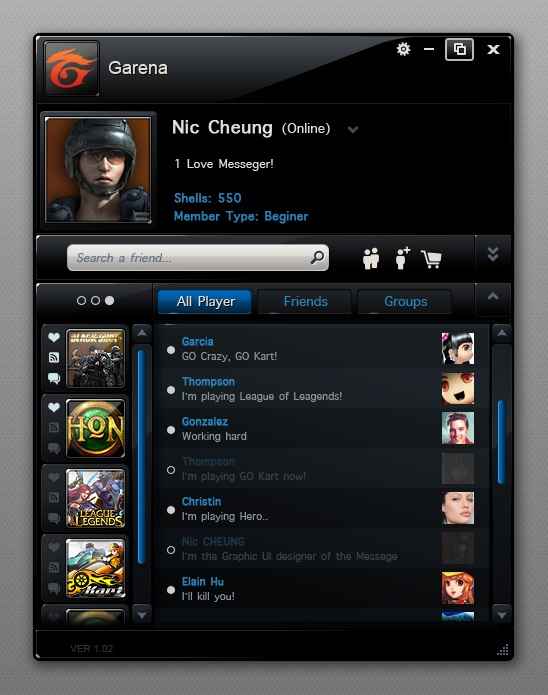 Garena IM UI – black version